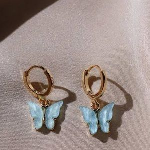 Sky blue butterfly hoop earrings